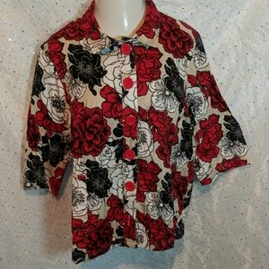 PLUS 1X 18/20 LIZ & ME Floral Shirt Jacket